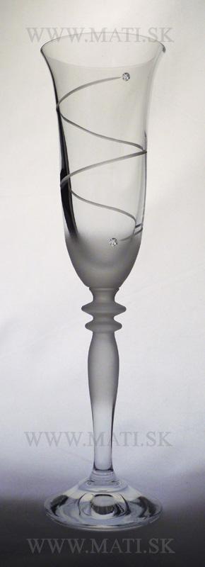 Flétňa / Flute 160 ml špirála (Transparent) - sklo zdobené s crystals from Swarovski®