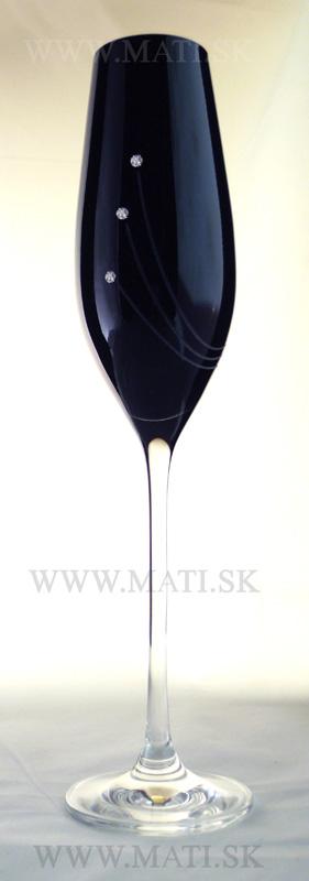 Flétňa / Flute 210 ml paprsky (Black) - sklo zdobené s crystals from Swarovski®