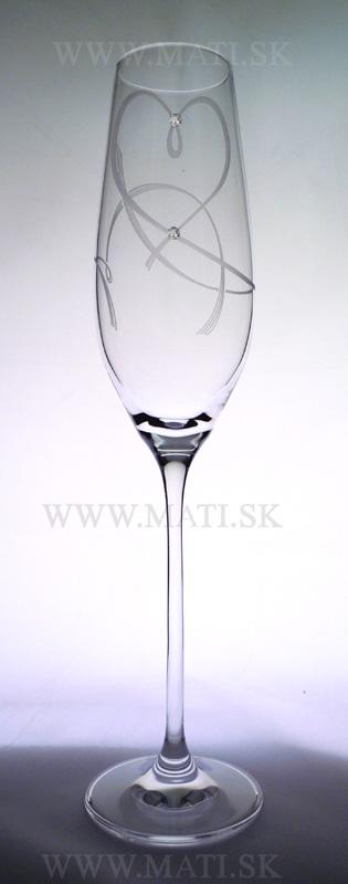 Flétňa / flute 210ml srdce I. (Transparent) - sklo zdobené s crystals from Swarovski®