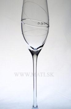 Flétňa / Flute 210 ml prstenec (Transparent) - sklo zdobené s crystals from Swarovski®