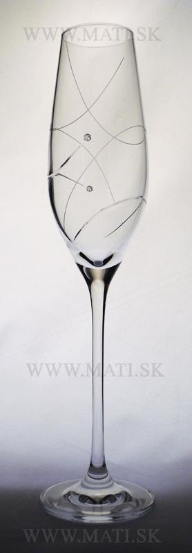 Flétňa / Flute 210 ml úsmev (Transparent) - sklo zdobené s crystals from Swarovski®