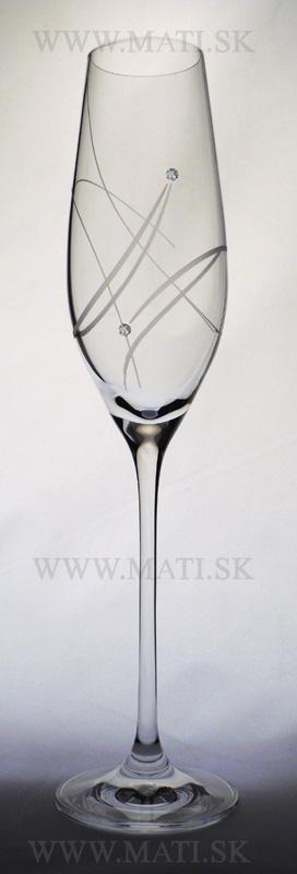 Flétňa / Flute 210 ml atóm (Transparent) - sklo zdobené s crystals from Swarovski®