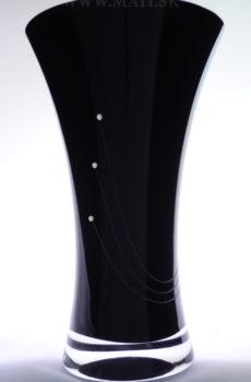 Váza 250mm paprsky (Black) - sklo zdobené s crystals from Swarovski®